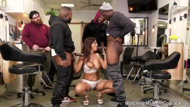 slutty mommy takes three black cocks in all her three holes