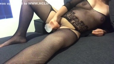 Asian gets anal creampie after playing with dildo