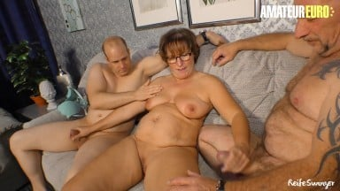 AMATEUREURO - German Hubby Shares His Big Tits Mature Wife Pussy With Colleague
