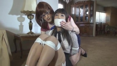 Shemale tranny bound gagged blindfolded with scarfs