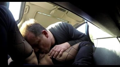 Getting my mature pussy fucked in the car