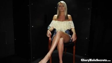 Blonde teen Victoria Steffani is trying out different cocks in her mouth through the gloryhole