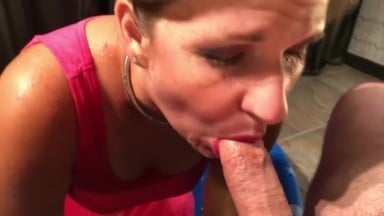 Submissive slut wife swallowing piss and cum
