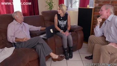 Young blonde rock chick gets fucked by old men