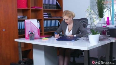 Busty Office Milf Angel Wicky Seduces Young Guy While Working