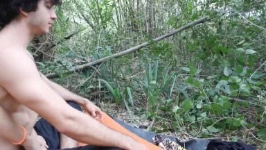 Cute And Hot Boy Meditates And Fucks In The Forest. Great Cumshot