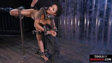 Black bdsm sub fingered and whipped by dom