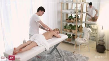 Alluring blonde's massage session leads to intense fucking