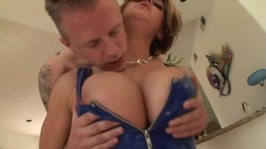 Busty chick Eve Lawerence delivers a messy blowjob before a hard fuck